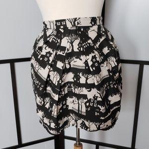 Topshop haunted house print pleat front peg skirt